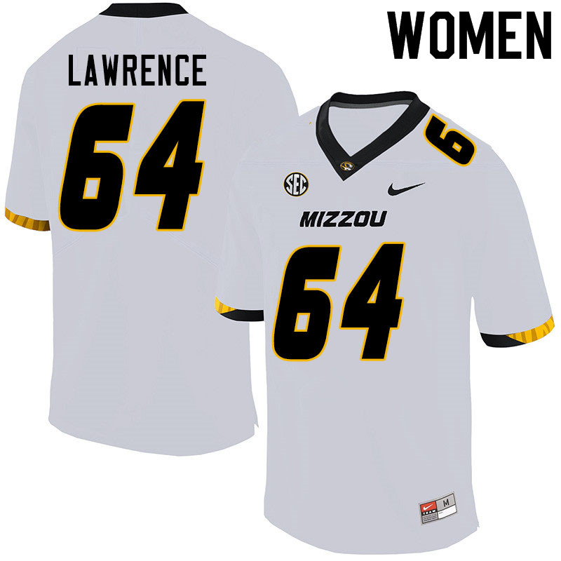 Women #64 Bobby Lawrence Missouri Tigers College Football Jerseys Sale-White